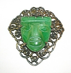 Mexico Sterling Silver Green Jade Glass Brooch