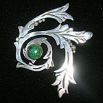 Vintage Sterling Silver 980 TAXCO Malachite Brooch