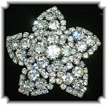 WEISS Crystal 2 1/8 inches Star Brooch