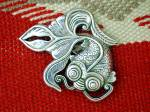 Click to view larger image of Sterling Silver Swirling Fish Brooch Marked HK FD (Image4)