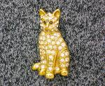 Click to view larger image of Cat Pin Goldtone with Crystals Signed SFJ (Image7)