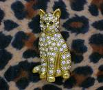 Click to view larger image of Cat Pin Goldtone with Crystals Signed SFJ (Image8)