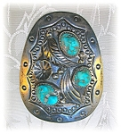 Click here to enlarge image and see more about item 0201200701:  Bolo  Sterling Silver Signed Turquoise Signed Bennet