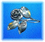 Sterling Silver Rose And Leaves Spray Brooch Pin