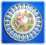 Vintage Clear Lucite Porcelain Man Lady Brooch
