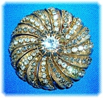 Click here to enlarge image and see more about item 0201200719: Vintage HOBE 2 1/4 Inch Crystal Starburst Brooch Pin