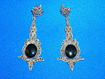 Click to view larger image of Vintage Sterlng Silver Black Onyx Marquisite Earrings (Image1)