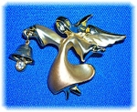 Gold Signed Angel Crystal  Bell Brooch Pin