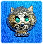 Gold Emerald Eyes Cat Pin Brooch