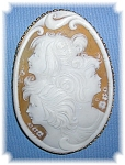 Click here to enlarge image and see more about item 0203200632: Brooch 14K Gold Shell 3 Faces Cameo