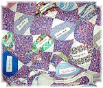 Click here to enlarge image and see more about item 0203200658: 1930s Hand Quilted 'Names' Quilt 59x70