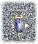 Click to view larger image of Sterling Silver Blue Lapis & Peridot Pendant (Image1)