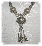 Necklace Silver Bead and Tassle Pendant