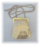 Click here to enlarge image and see more about item 0205200440: Whiting & Davis Gold Mesh Evening Purse