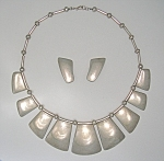 Click to view larger image of Mexico Sterling Silver RIVERAS Necklace Earrings (Image1)