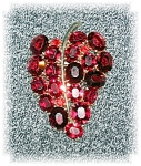 Dress Clip Ruby Red Crystal  Leaf 2 3/4 Inch