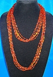 Vintage 60 Inch Amber Color 5 Strand Bead Necklace