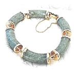 Click here to enlarge image and see more about item 0207200410: 14K Gold and Green JADE  Linked Bracelet 42.96TW