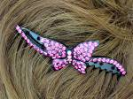 Click to view larger image of Crystal Pink Butterfly Hair Comb (Image3)