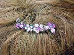 Pink Amethyst blue Crystal Flowers Hair Comb