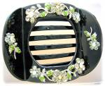 Click to view larger image of Green Pink Yellow Crystal Black Hair Holder (Image2)