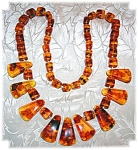 Necklace  Antique Golden Amber 9 Pendant