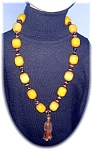 Necklace Amber  &Glass beads  Wood Netsuke