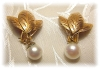 Click to view larger image of 14K Gold Leaves 7mm Cultured Pearl Clip  Earrings  (Image2)