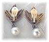 Click to view larger image of Earrings 14K Gold Leaves 7mm Pearl Clips   (Image3)