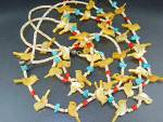 Navajo Golden Carved Birds Turquoise Heishi Necklace
