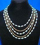 TRIFARI Turquoise Glass  5 Strand Crystal Necklace