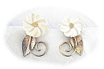 14K GF Ivory Carved  Flower Screwback Earrings Amco