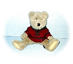Click here to enlarge image and see more about item 0221200554: 1985-94 Red and Green Sweater Clad Teddy Bear