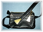 Black Leather Sharif Americana Fanny Bag