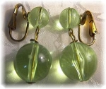 Lucite Apple Green Dangle Clip Earrings