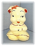 Click here to enlarge image and see more about item 0223200405: Piggy Bank, Vintage Pottery Cream & Red Money Bank