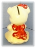 Click to view larger image of Piggy Bank, Vintage Pottery Cream & Red Money Bank (Image2)