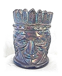 Click here to enlarge image and see more about item 0223200421: Irridescent Blue Indian Tooth Pick Holder
