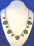 Click to view larger image of Steling Silver Malachite Necklace Mexico (Image1)