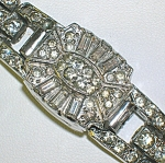Click here to enlarge image and see more about item 0225200763: Waltham Wrist Watch Ladies Rhinestone Rhodium Plate