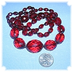 Necklace Cherry Amber Faceted  Graduated 30 Inch