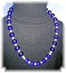 11mmCobalt Blue & Clear Crystal Bead Necklace