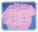 Click here to enlarge image and see more about item 0228200619: Pink Sweater Cardigan For Doll or Baby