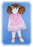 16 Inch Chestnut Hair Cloth Doll Pink Dress
