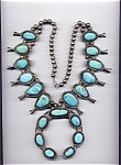 Click to view larger image of Native American Squash Blossom Sterling Silver Turquois (Image1)