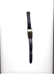 Click here to enlarge image and see more about item 03022004B: Bulova Black Face Tank 10K Gold Fill Wristwatch