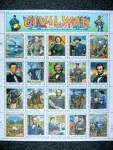 Civil War Stamp Sheet, 20 uncut $0.32 stamps