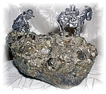 Click here to enlarge image and see more about item 03072006901: Pewter Donkey & Miner Natural Rock Ornamnent