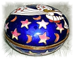 Small Blue Enamel Fairy Trinket Box