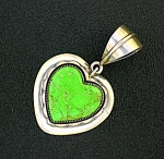 Sterling Silver Gaspiite Jimmy Secatero Heart Pendant